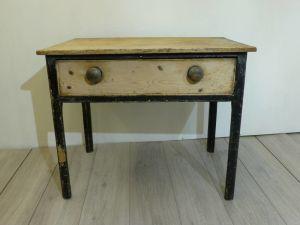Antique Pine Table In Original Black Paint