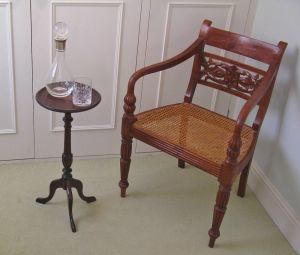 Early 20thc Mahogany & Inlaid Wine Table With Tray-top & Tripod Base
