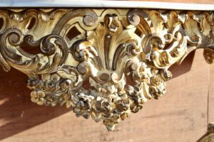 Stunning Gilded Wood, Marble Top Console Table