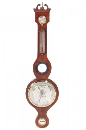 Large Antique Rosewood Banjo Barometer