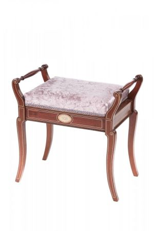 Quality Antique Mahogany Freestanding Inlaid Piano Stool C. 1890