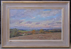 Framed Oil On Board Summer Landscape By Unknown Russian Artist