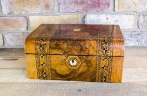 Burr Walnut Tunbridge Ware Table Box C.1870
