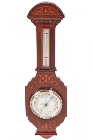 Large Antique Mahogany Inlaid Barometer C. 1890