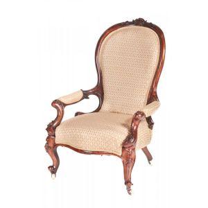 Victorian Carved Walnut Armchair