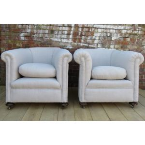 Pair Re-upholstered Antique Tub Chairs