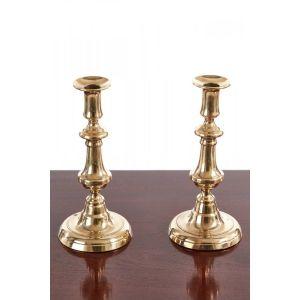 Pair Of Antique Brass Candlesticks C.1860
