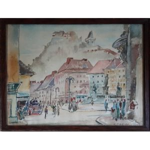 Watercolour Of Hauptplatz In Graz