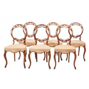 Fine Quality Set Of Six Victorian Walnut Dining