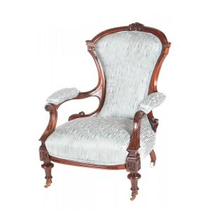 Quality Victorian Carved Rosewood Armchair