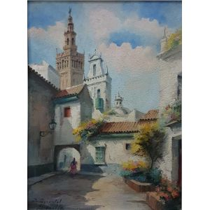 "Oil On Board ""santa Marta Square, Sevilla"""
