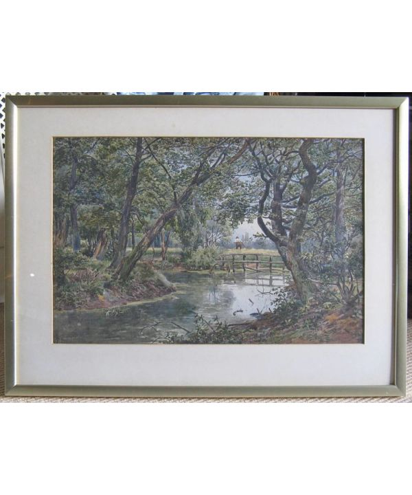 Original Watercolour, Tree-lined Riverscape With Harvester By John Macpherson