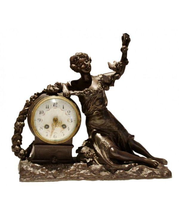 Spelter Mantle Clock, Signed R. Richard