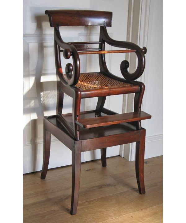 Regency Or William Iv Mahogany Child's Cane-seated Chair On Detachable Raised Stand