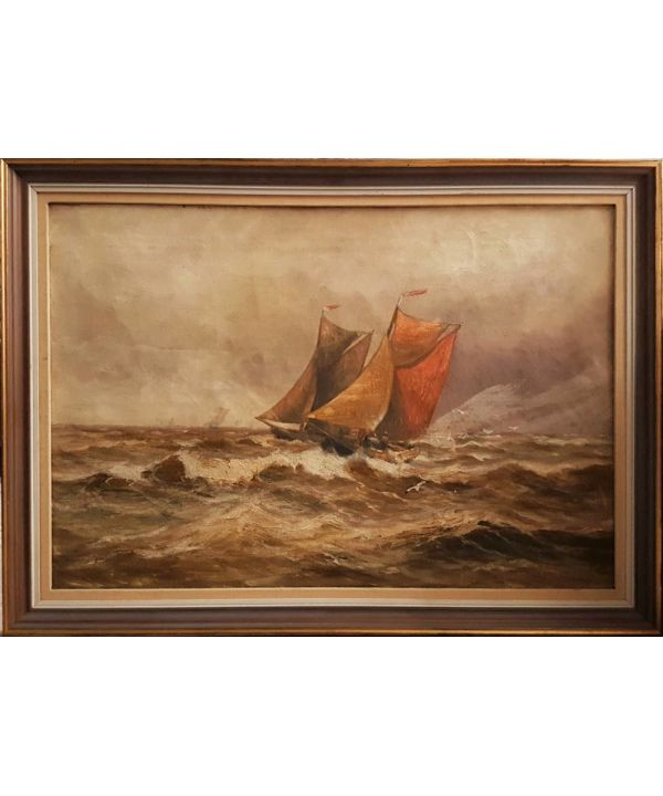 "Oil On Canvas ""fishing Boat In A Storm."""