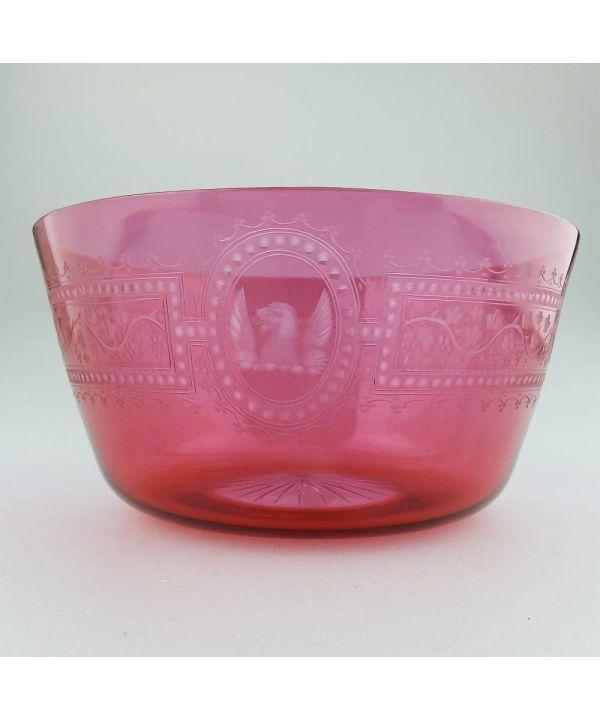 English Cranberry Glass Dog Bowl