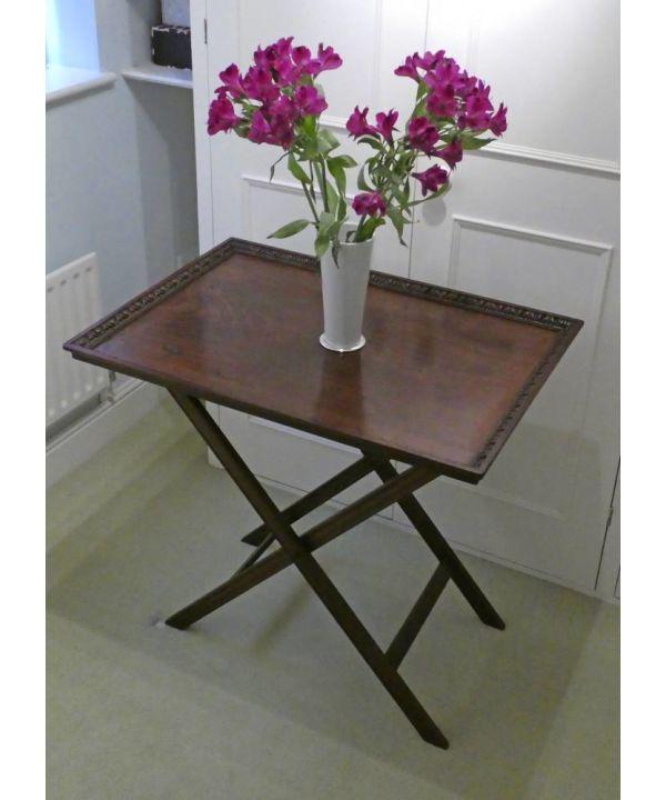 Large Edwardian Mahogany Butler's Tray On Original? Folding Stand
