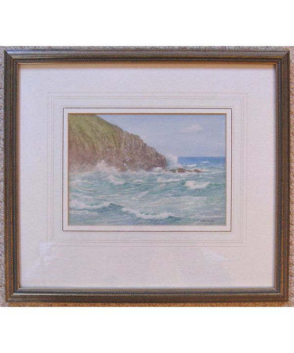 Original Miniature Watercolour, Breaker & Spray By H H Bingley