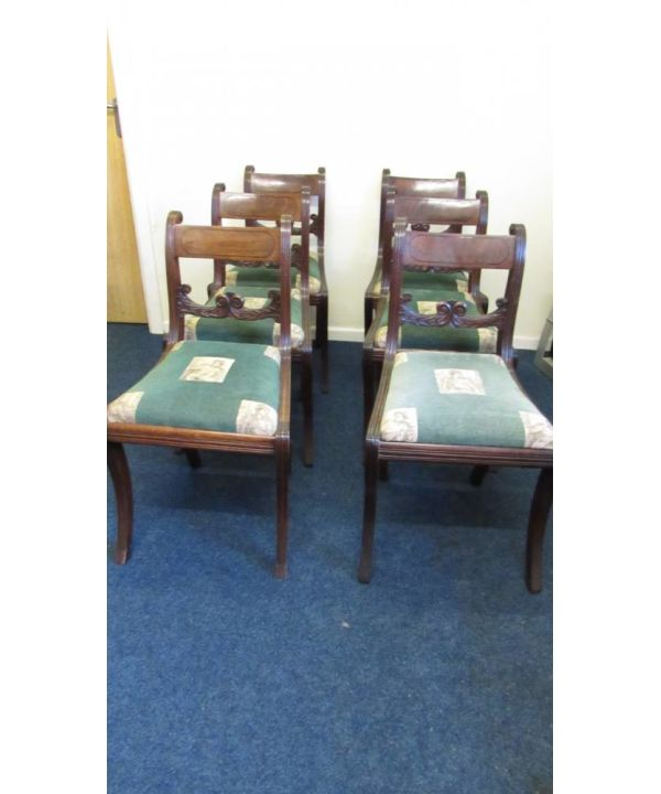 6 Regency Sabre Leg Chairs