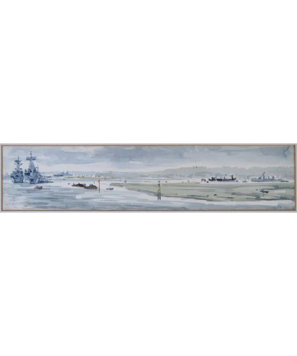 Signed Original Watercolour, Portsmouth Harbour By David T Smith