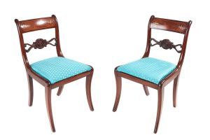 Fine Pair Of Regency Mahogany Brass Inlaid Chairs C.1815