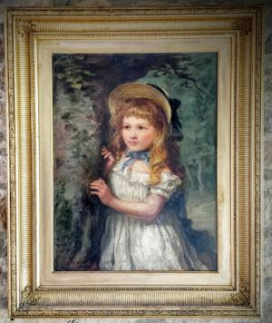 19th Century Oil Portrait Of A Young Girl On Stretched Canvas In Original Gilt Frame  Signed C P Dowling 1875