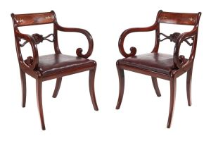 Fine Pair Of Regency Mahogany Brass Inlaid Elbow Chairs C.1820