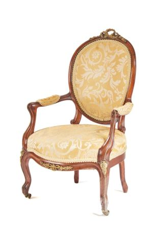 Fine Quality French Walnut Cabriole Leg Armchair C.1850
