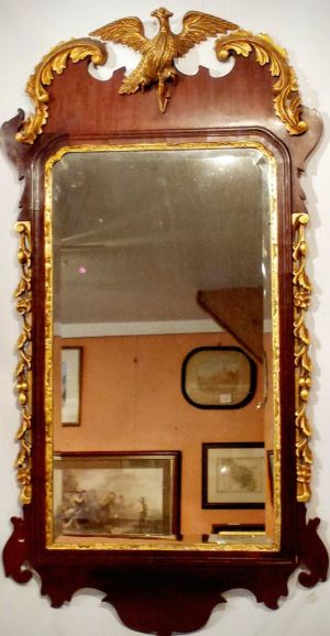George 1st Style Fretwork Mahogany Mirror With Gilt Decorations And Carved Eagle And Bevelled Glass