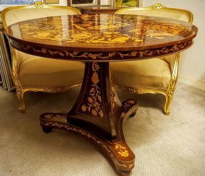 Dutch Red Walnut Marquetry Center Table