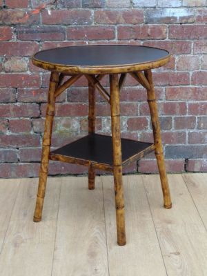 19c Leather Bamboo Side Table