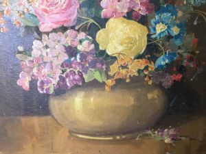 Old Oil Painting Still Life Of Flowers By John Wilson