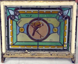A Good Well Painted Leaded Glass Bird Window