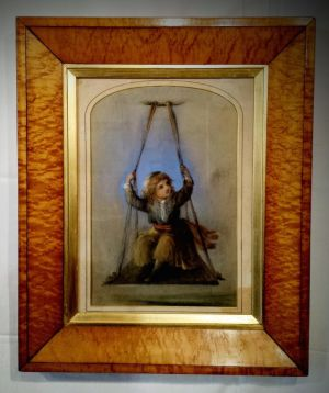 19th Century Pastel Portrait Of A Boy On A Swing In Maple Frame