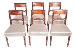 Set Of 6 Regency Mahogany Brass Inlaid Dining Chairs C.1820
