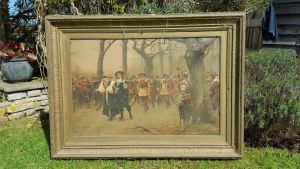 Large Oleograph In Gilt Frame - Charles 1st En Route To His Execution