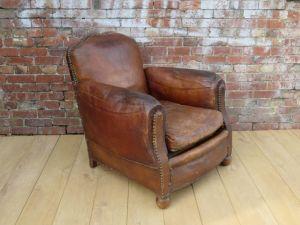 Art Deco Leather Studded Club Armchair