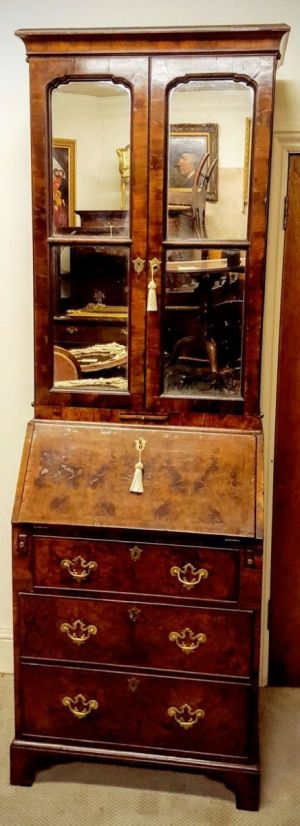 Small Bureau Queen Anne Bookcase In Yew Wood