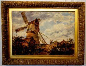 19th Century Dutch Oil On Board, A Windmill In Gilt Frame