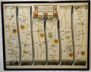 Early Hand Coloured Road Map Bristol To Banbury 1674 By Ogilby