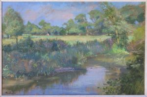 Original Oil Painting On Canvas, The Banks Of The Thame By Charles Hardaker