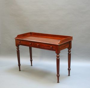 Victorian Mahogany Writing Table On Turned Supports