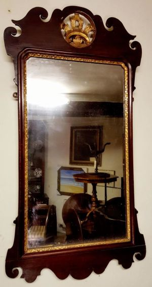 George Iii Antique Mahogany Chippendale Mirror