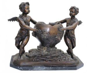Large Bronze Jardiniere, Putti & Floral Decorati