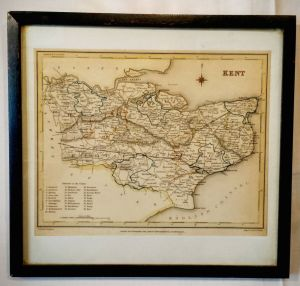 Hand Coloured Map Of Kent By J And C Walker 1840