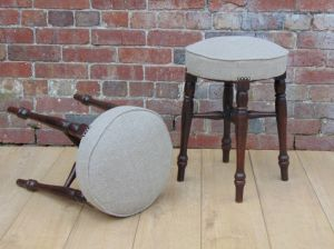 Pair Reupholstered Bar Stools