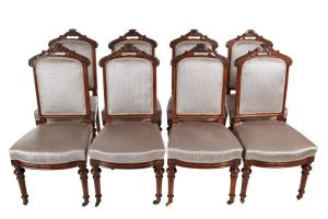 Fine Set Of 8 Victorian Carved Walnut Dining Chairs