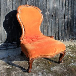 Antique Victorian Mahogany Frame Spoon Back Nursing Chair