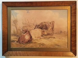 19thc Watercolour Of Cattle, Signed