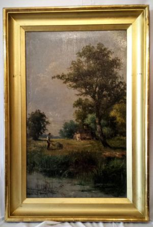 Victorian Oil On Stretched Canvas Rural Scene By W Robert